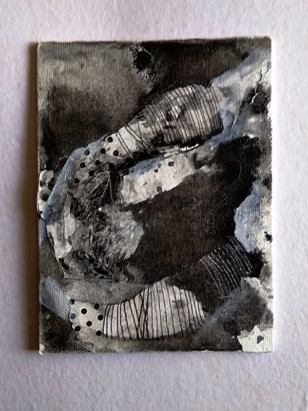 Spots, Alien landscapes. Day 10   6x8in   Ink on Canvas Board