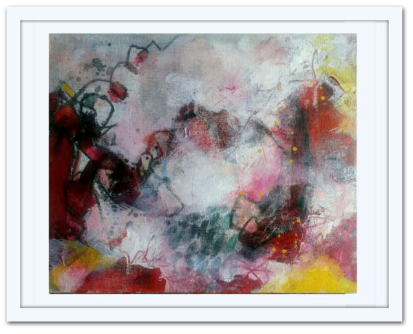 Scarlet, Morescapes, 2017| 10x12in | Mixed media on canvas board | Abstract art by Asma Kazi