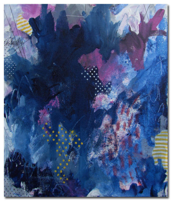 Sunny Barcodes, Deep Blues and Connecting the Dots | Abstract art by Asma Kazi