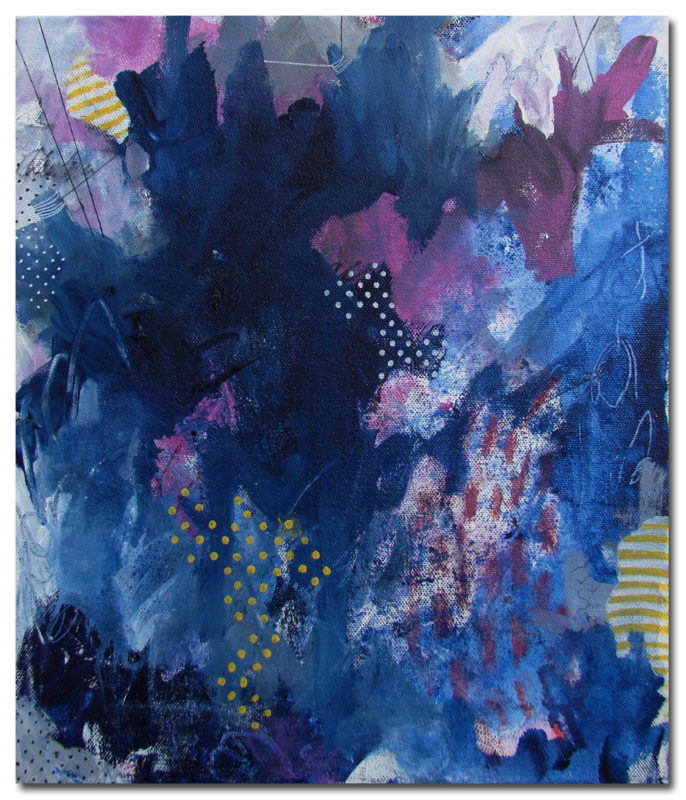 Sunny Barcodes, Deep Blues and Connecting the Dots | Abstract art by Asma Kazi