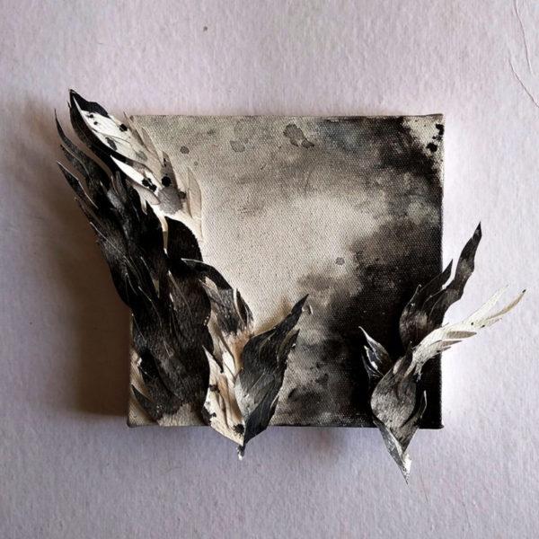 Flight, Alien landscapes. Day 4 | Ink + Inked Paper, on Canvas | www.kaleidodrama.com #inktober2018