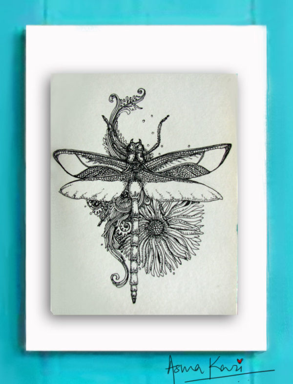 01 Dragonfly, 2016 Pen & Ink drawing by Asma Kazi