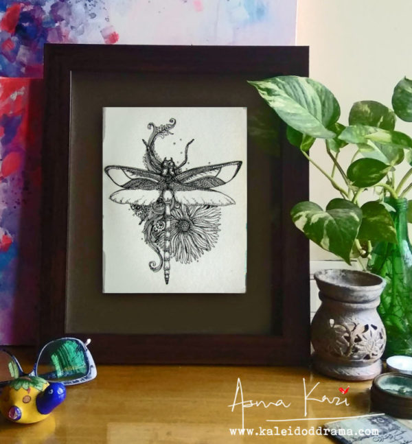 01 Insitu_Dragonfly, 2016 Pen & Ink drawing by Asma Kazi
