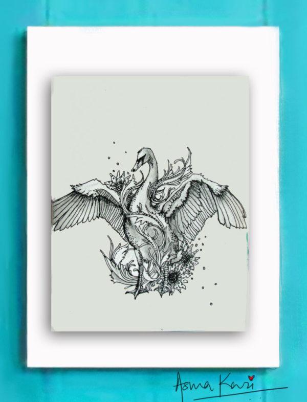 02 Swan Dance, 2016 Pen & Ink drawing by Asma Kazi