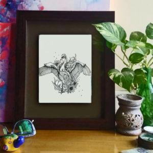 02 insitu_Swan Dance, 2016 Pen & Ink drawing