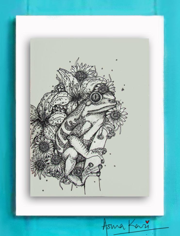 05 La rana hip hopper, 2016 Pen & Ink drawing by Asma Kazi