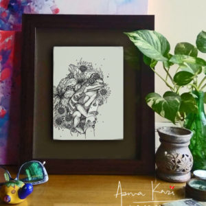 05 insitu_La rana hip hopper, 2016 Pen & Ink drawing by Asma Kazi
