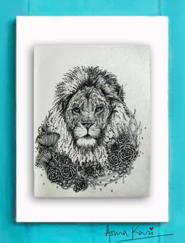 08 LEO, 2016 Pen & Ink drawing by Asma Kazi