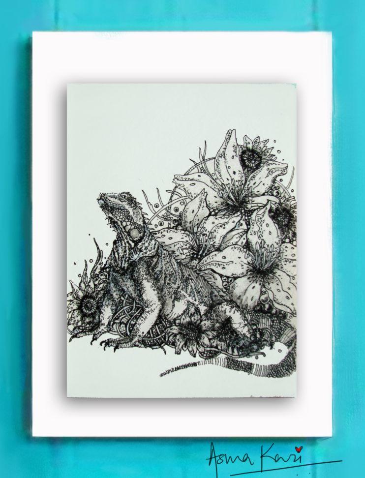 09 Frilled Dragon, 2016 Pen & Ink drawing by Asma Kazi