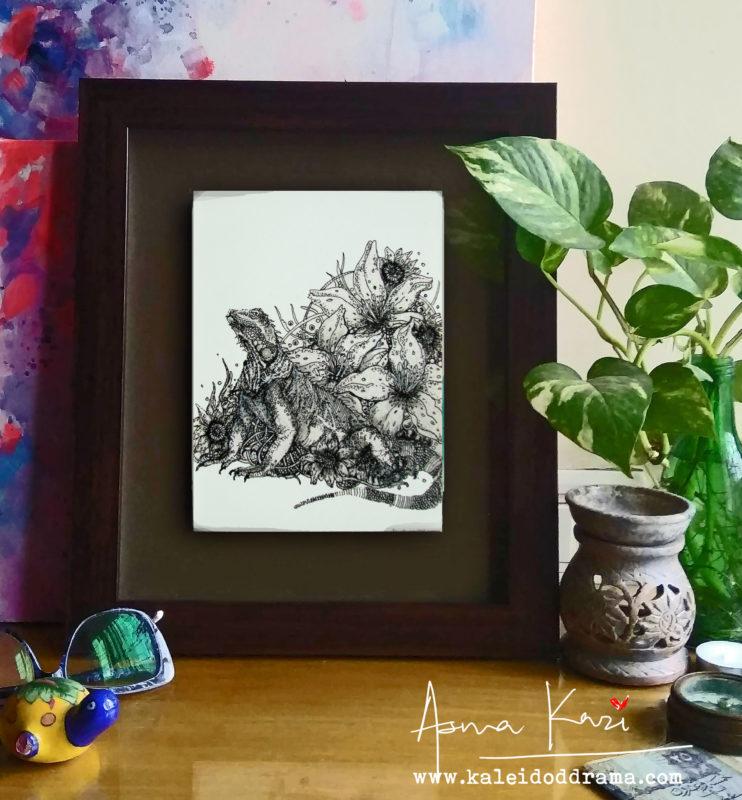 09 insitu_Frilled Dragon, 2016 Pen & Ink drawing by Asma Kazi