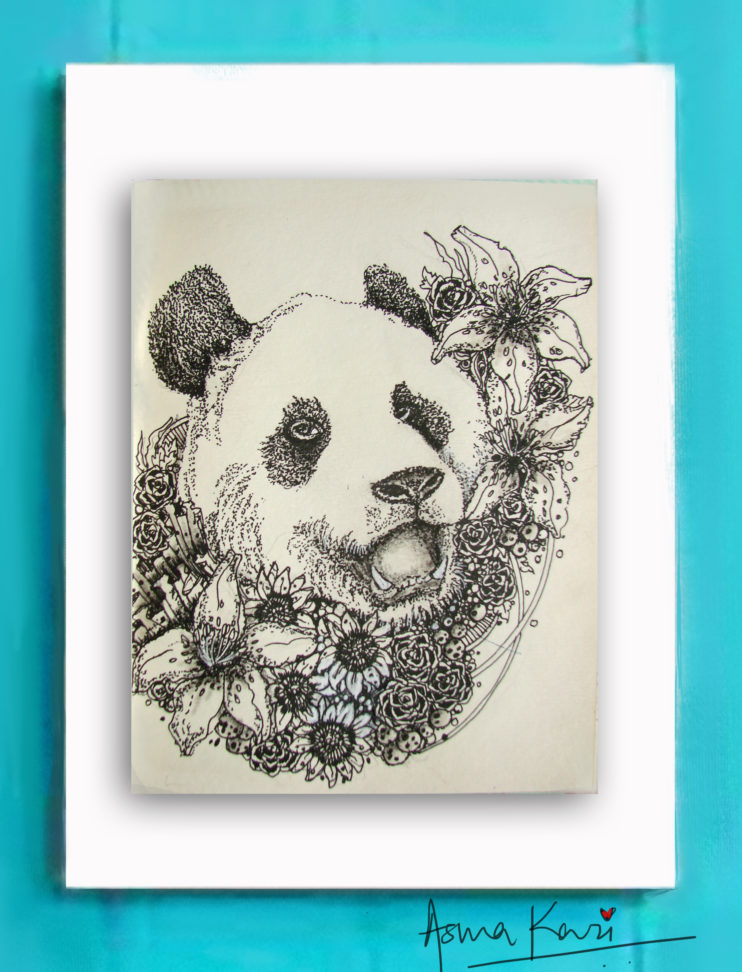 12 Pinyin, 2016 Pen & Ink drawing by Asma Kazi