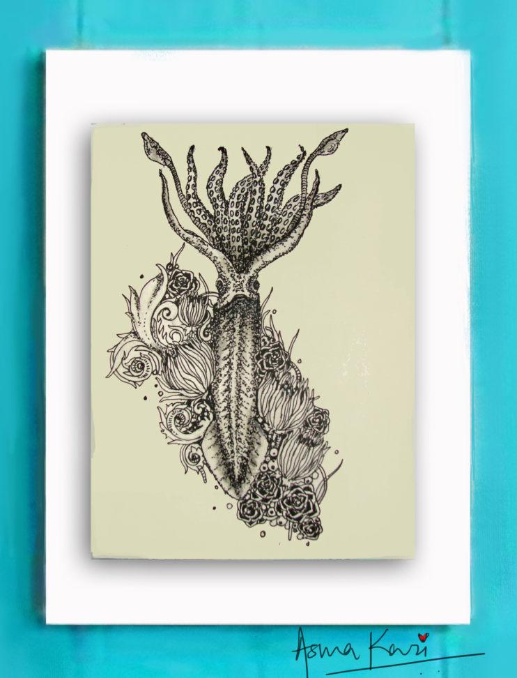 14 Calamari, 2016 Pen & Ink drawing by Asma Kazi