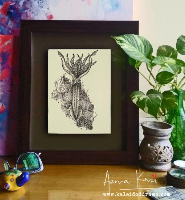 14 insitu_Calamari, 2016 Pen & Ink drawing by Asma Kazi