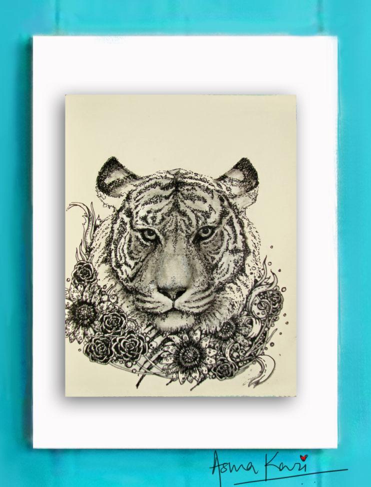 17 Richard Parker, 2016 Pen & Ink drawing by Asma Kazi