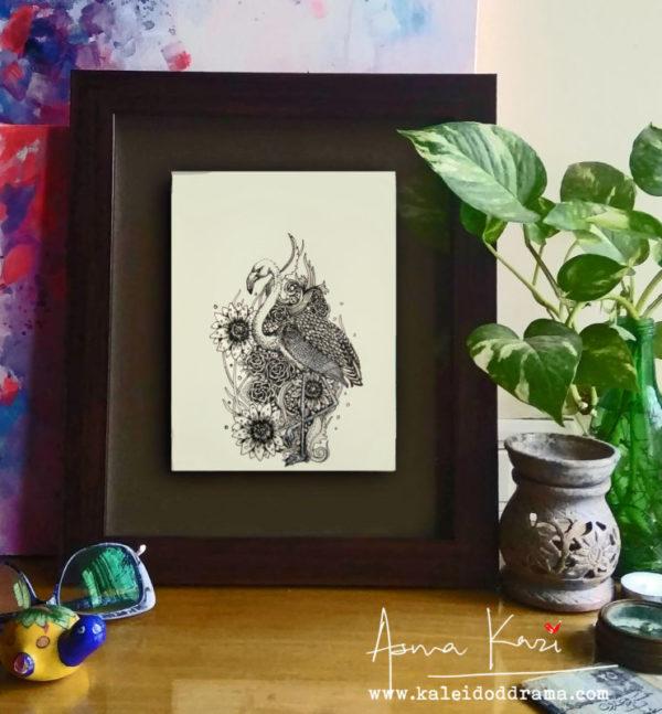 18 Insitu_Pink, 2016 Pen & Ink drawing by Asma Kazi=