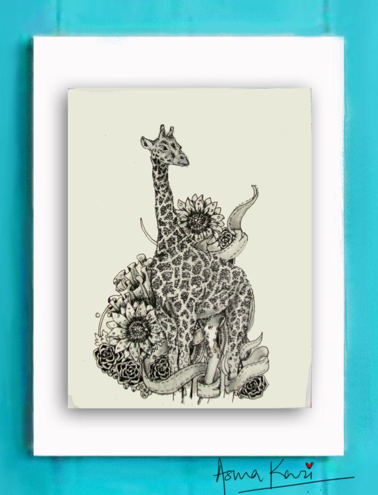 19 Jersey Giraffa ShortLegski, 2016 Pen & Ink drawing by Asma Kazi+