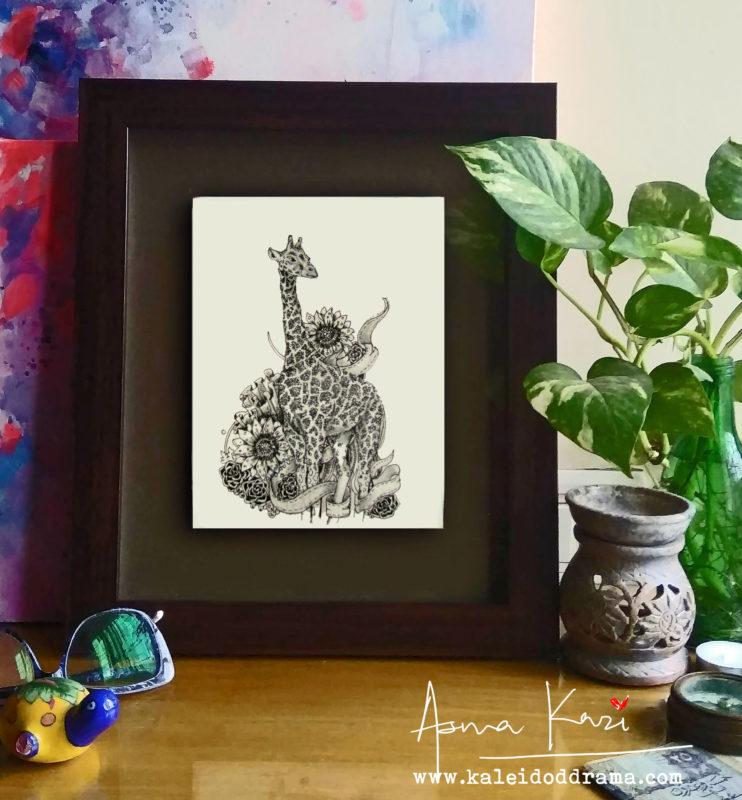 19 insitu_Jersey Giraffa ShortLegski, 2016 Pen & Ink drawing by Asma Kazi+