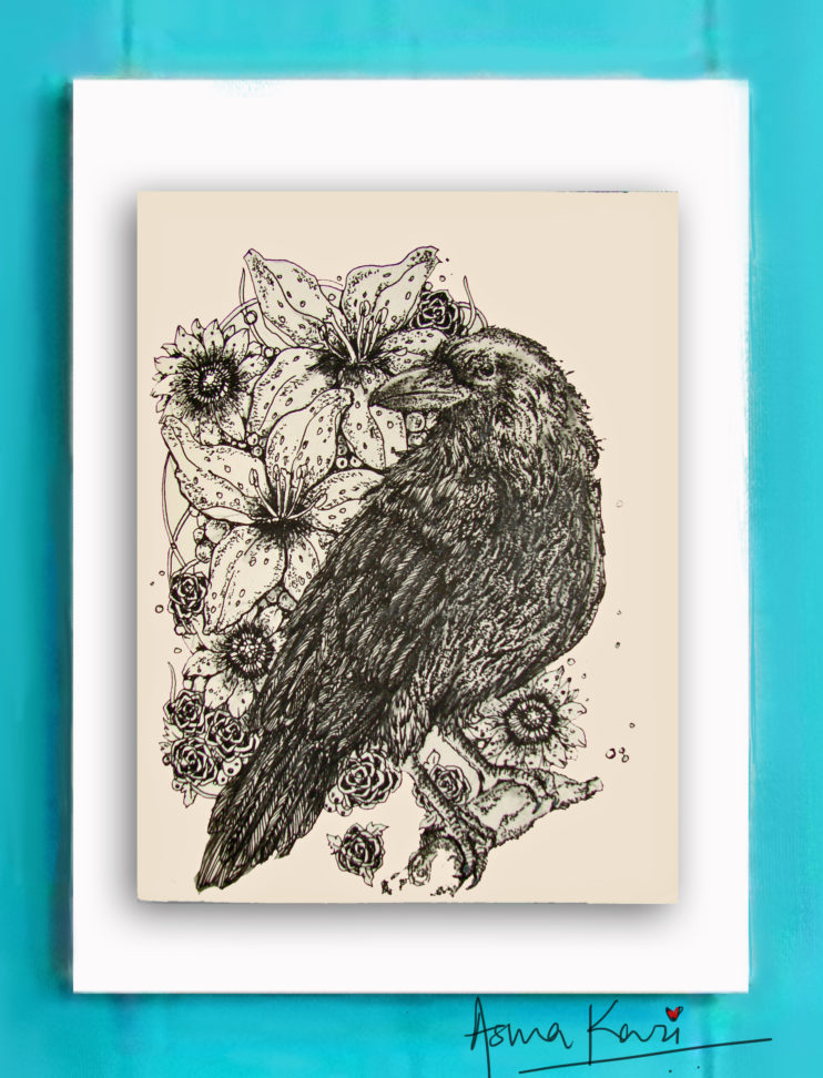 20 Nevermore, 2016 Pen & Ink drawing by Asma Kazi+