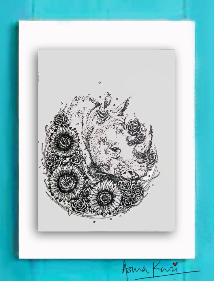 23 Sir Nose Hornoceros, 2016 Pen & Ink drawing by Asma Kazi
