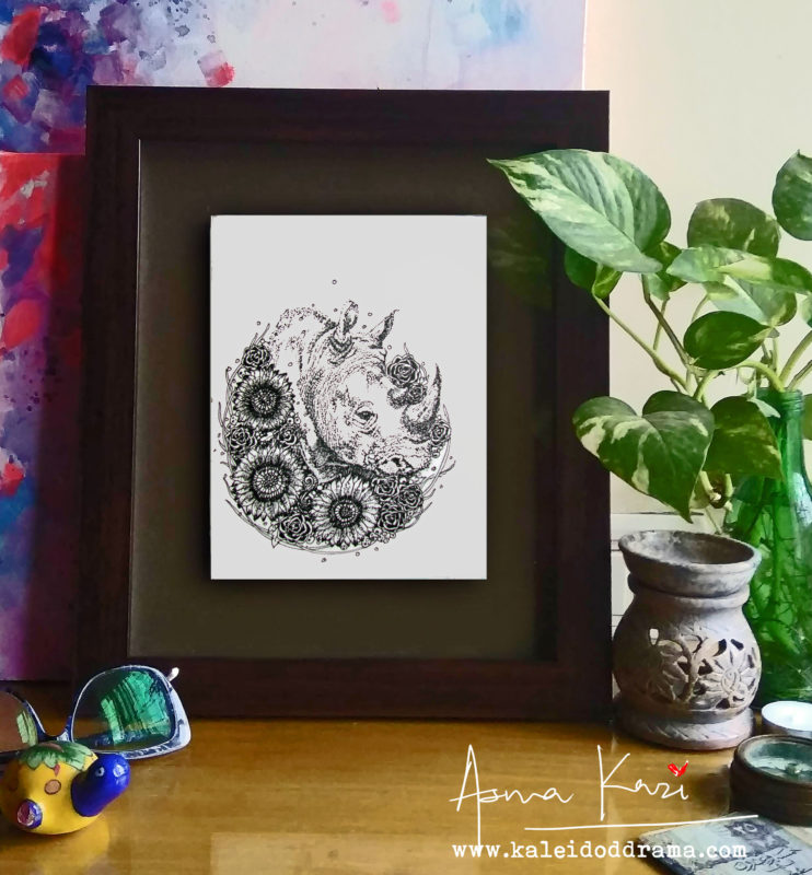 23 insitu_Sir Nose Hornoceros, 2016 Pen & Ink drawing by Asma Kazi