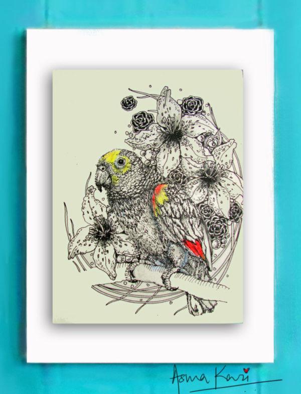 26 PrincessYellowCrownedAmazonia, 2016 Pen & Ink drawing by Asma Kazi