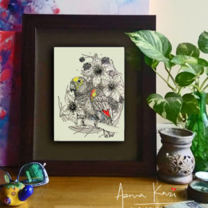 26 insitu_PrincessYellowCrownedAmazonia, 2016 Pen & Ink drawing by Asma Kazi