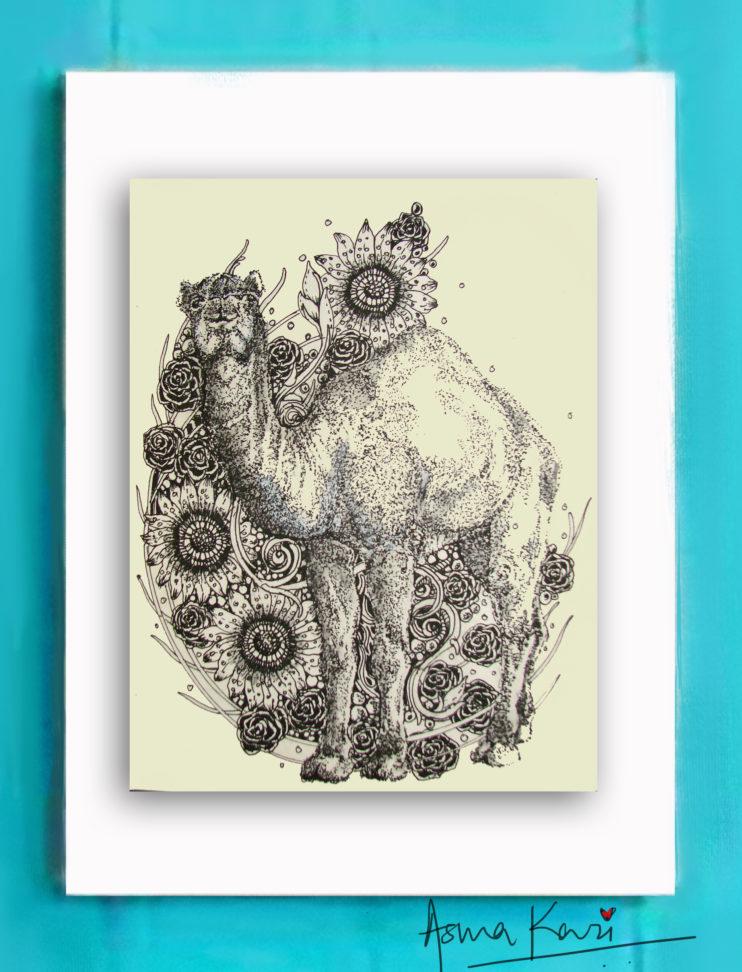 27 Don Camelini, 2016 Pen & Ink drawing by Asma Kazi