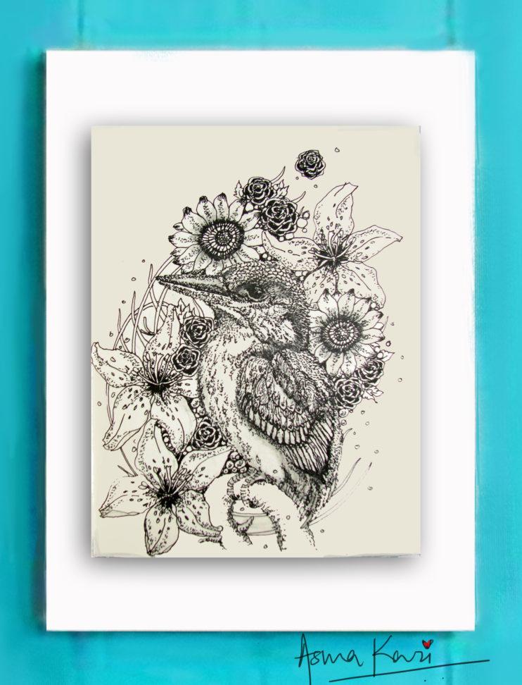 28 Kingfisher, 2016 Pen & Ink drawing by Asma Kazi