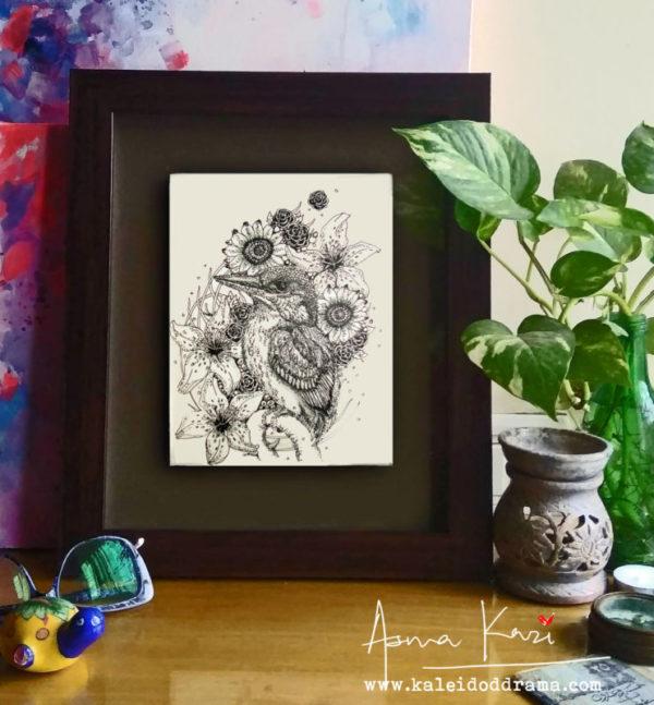 28 insitu_Kingfisher, 2016 Pen & Ink drawing by Asma Kazi