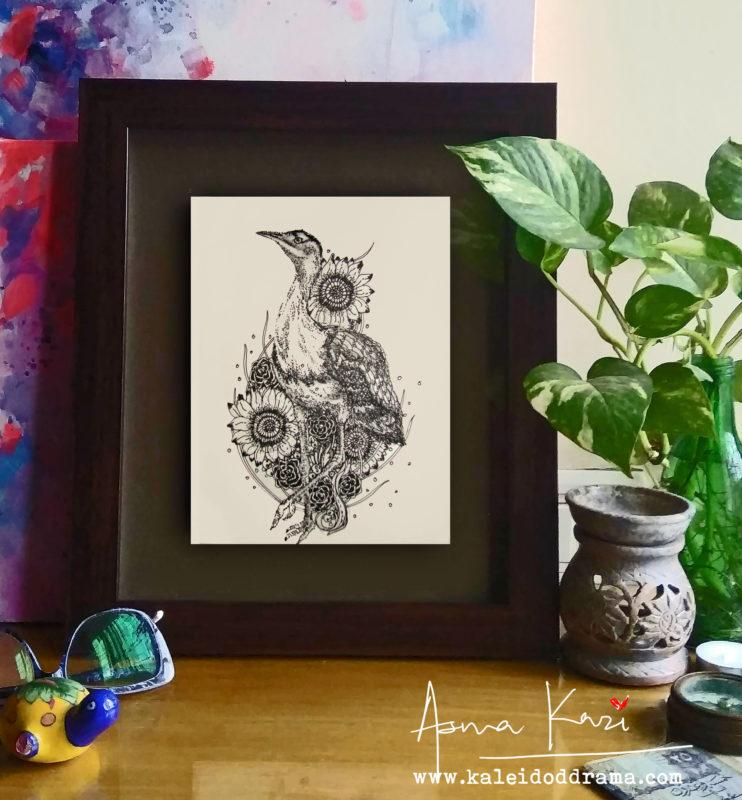 30 insitu_Great Indian Bustard, 2016 Pen & Ink drawing by Asma Kazi