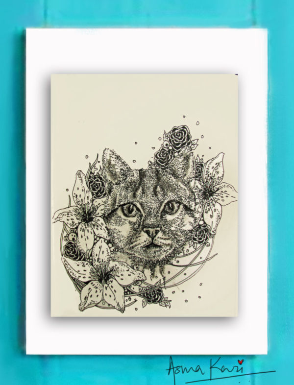 31 Felis Catus,2016 Pen & Ink drawing by Asma Kazi