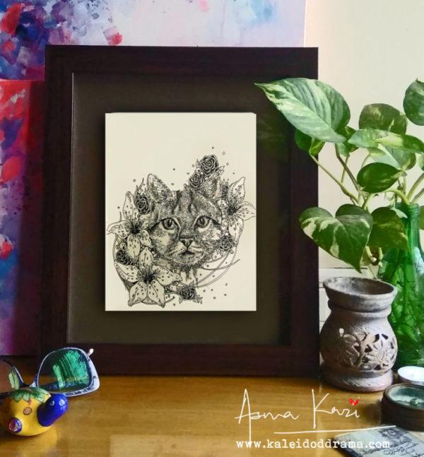 31 insitu_Felis Catus, 2016 Pen & Ink drawing by Asma Kazi