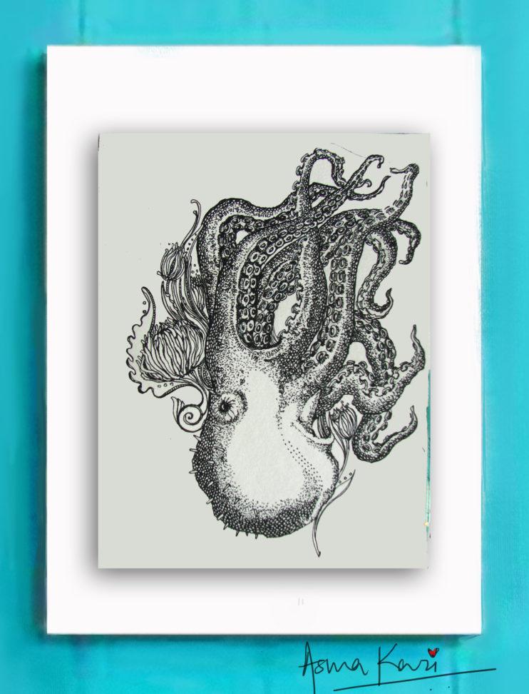 32 Octopus, 2016 Pen & Ink drawinng by Asma Kazi_