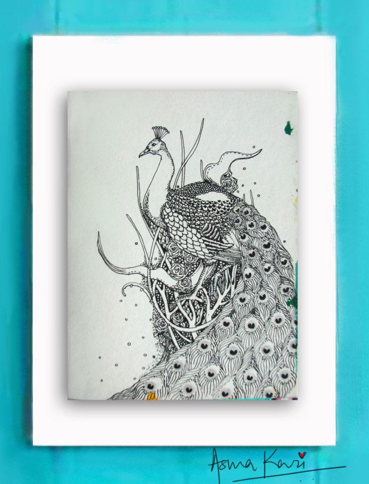 33 Strutster, 2016 Pen & Ink drawing by Asma Kazi_