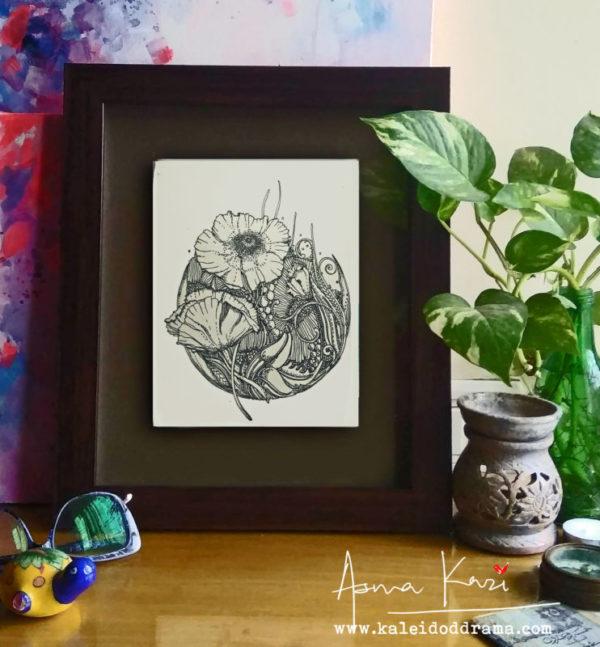 37 insitu_red, 2016 Pen & Ink drawing by Asma Kazi
