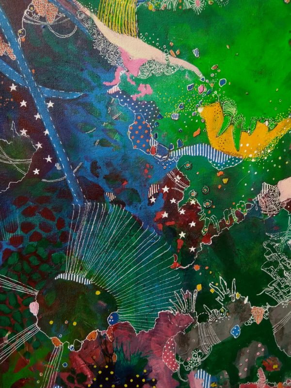 Deets 3 Cornucopia 2020 | 20x30 in | Mixed media on canvas | Alien Landscapes by Asma Kazi