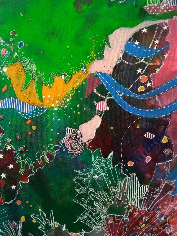 Deets 7 Cornucopia 2020 | 20x30 in | Mixed media on canvas | Alien Landscapes by Asma Kazi